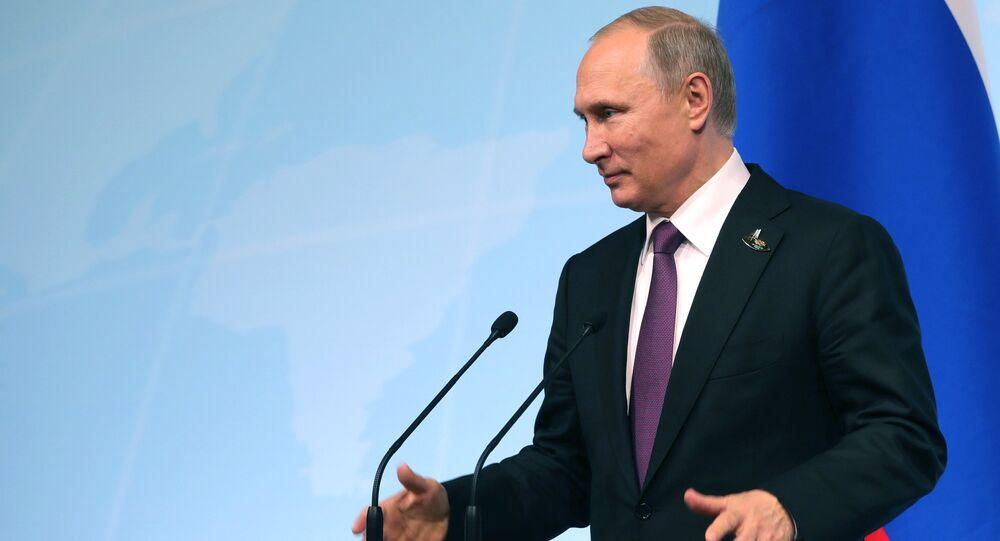 A coletiva de imprensa do presidente russo Vladimir Putin no decurso da cúpula do grupo G20 em Hamburgo, em 8 de julho de 2017