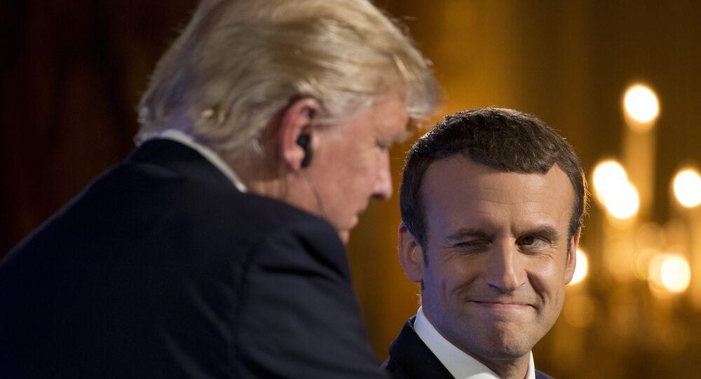US Präsident Donald Trump und sein Kollege aus Frankreich Emmanuel Macron bei der Konferenz in Paris