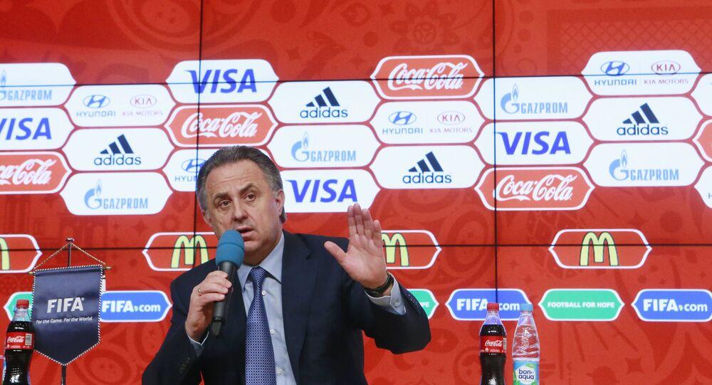 Vitaly Mutko, no lançamento do concurso para a escolha do mascote da Copa do Mundo de 2018.