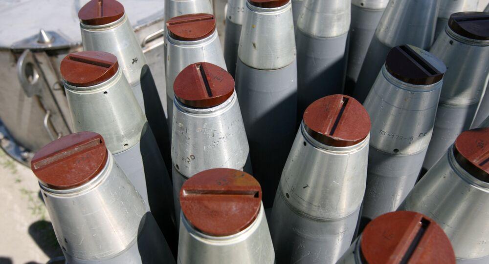 Bombas de fósforo em unidade de destruição de armas químicas na cidade russa de Shchuchye, na Sibéria
