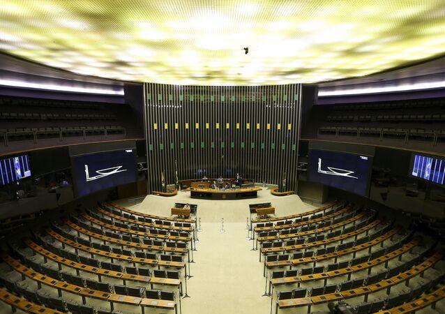 O Plenário da Câmara vazio