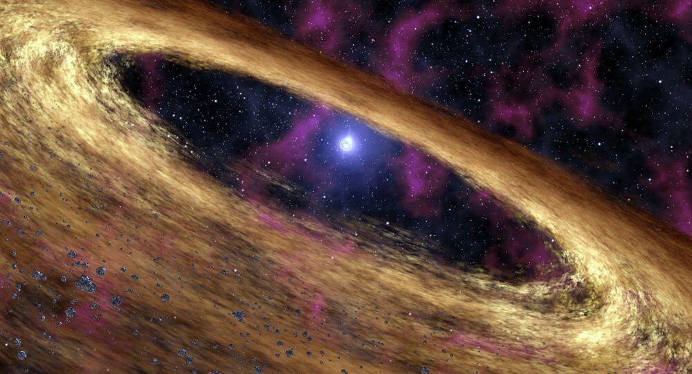 Um pulsar - estrela de nêutrons muito pequena e muito densa