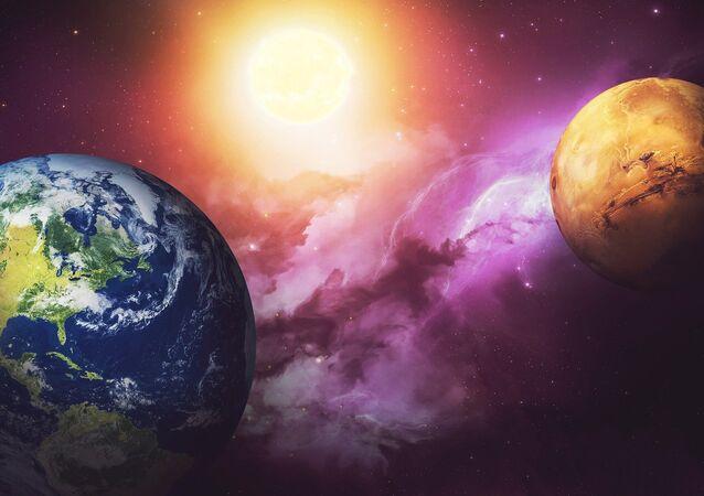 A Terra e Marte (imagem ilustrativa)