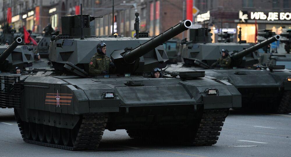 T-14 Armata durante o ensaio para a Parada da Vitória em Moscou