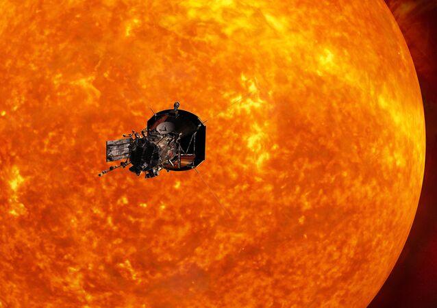 A sonda Parker Solar Probe se aproximando do Sol (simulação)