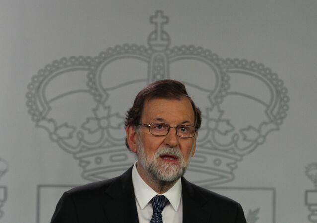 Primeiro-ministro espanhol Mariano Rajoy durante pronunciamento em Madri, na Espanha