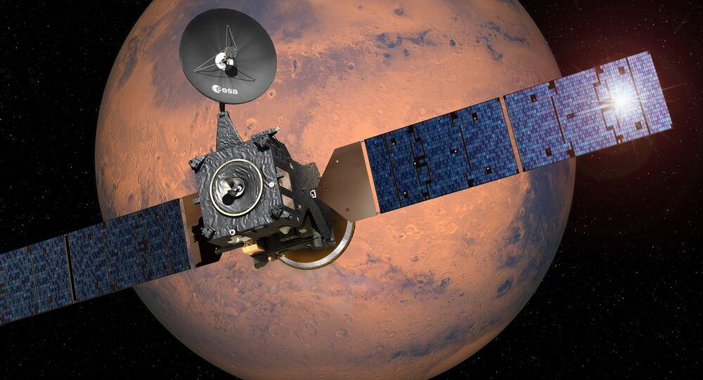 Imagem da Agência Espacial Europeia que mostra módulo de ExoMars-2016 Schiaparelli