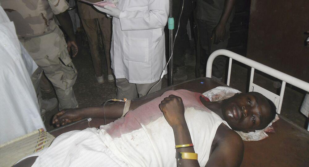 Estudante ferido após ataque do Boko Haram.