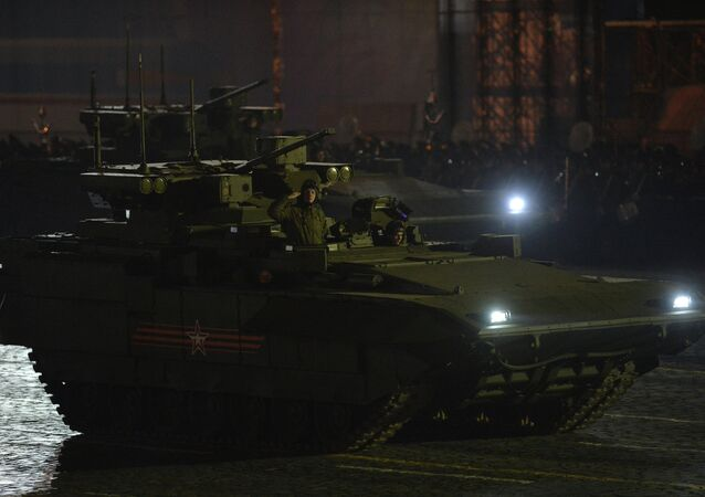 Moscow. Rehearsal for parade marking 70th anniversary of victory in the Great Patriotic War