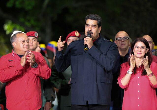 Nicolás Maduro discursa perante governadores depois da revelação dos resultados das eleições realizadas em 15 de outubro de 2017