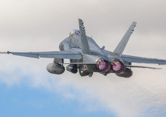 Caça F-18 da Força Aérea espanhola, foto de arquivo