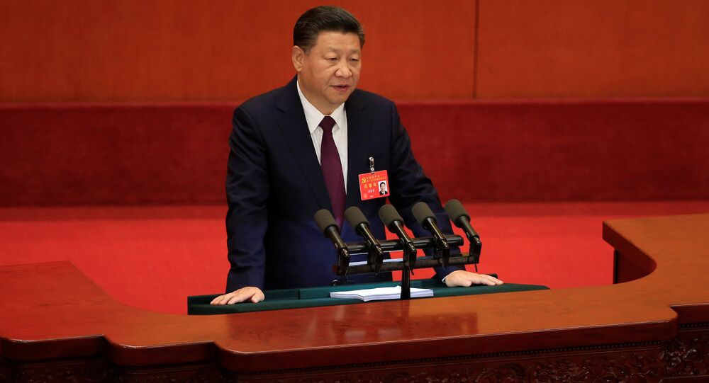 China's President Xi Jinping speaks during the opening session of the 19th National Congress of the Communist Party of China at the Great Hall of the People in Beijing, China October 18, 2017