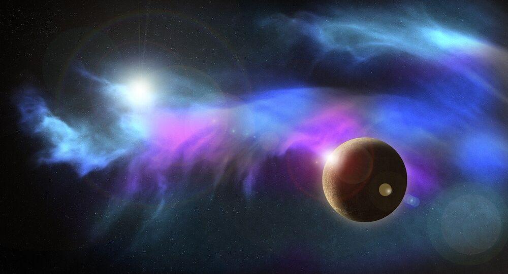 Apresentação artística de um corpo celeste localizado no Sistema Solar
