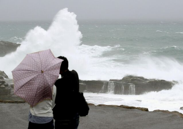 High waves caused by Typhoon Lan break on the shores of Senjojiki, Shirahama town, Wakayama prefecture, Japan, in this photo taken by Kyodo October 22, 2017.