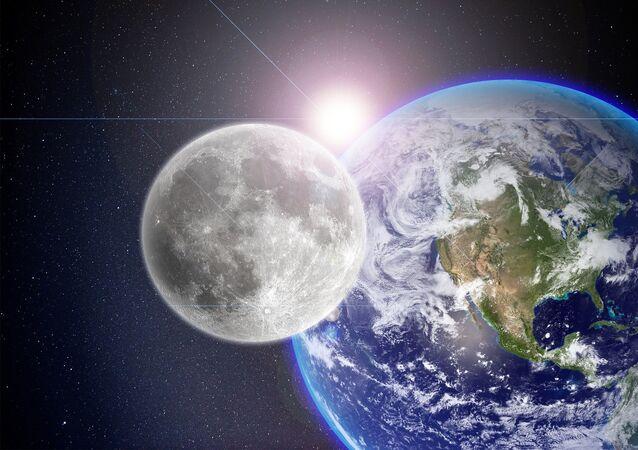 A Lua, a Terra e o Sol (imagem referencial)