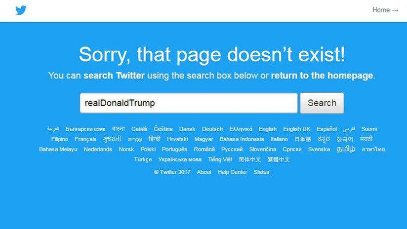 Página informa conta desativada de Trump no Twitter