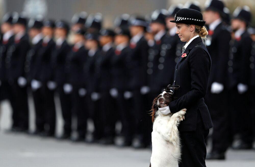 Uma policial com cachorro durante a parada da Academia de Polícia em Londres, Reino Unido