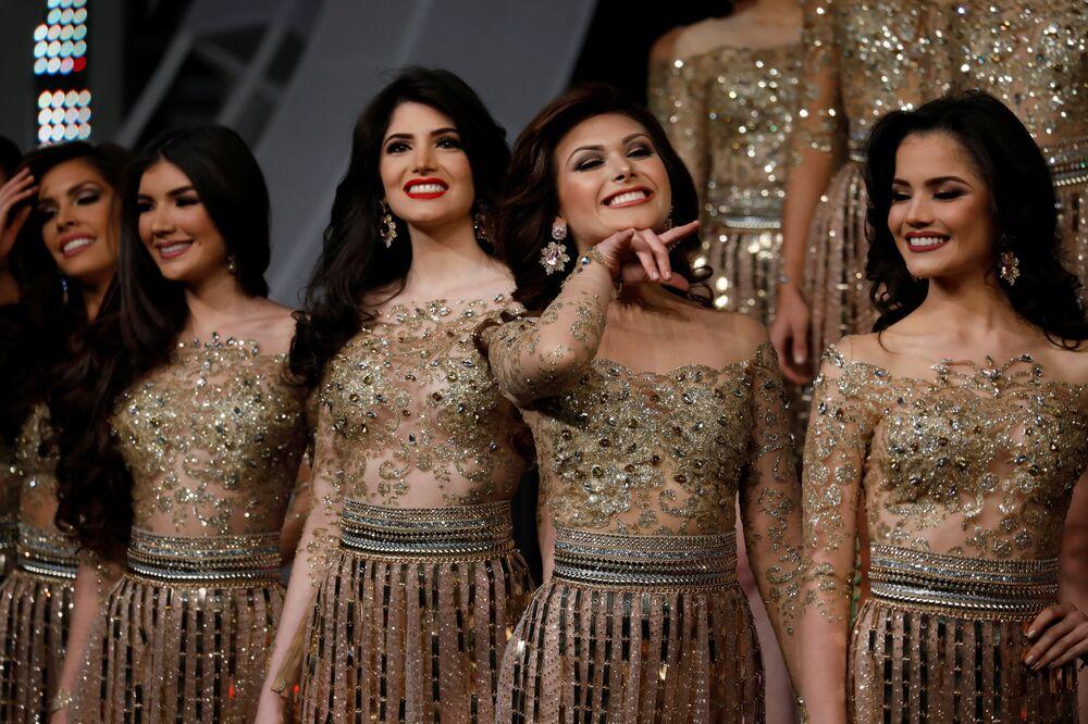 Participantes da competição Miss Venezuela 2017 em Caracas, em 9 de novembro de 2017
