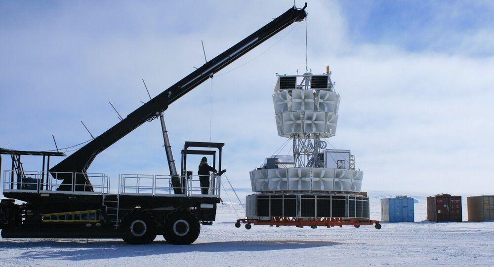 Bloco de antenas de rádio do detector ANITA (Antarctic Impulse Transient Antenna)
