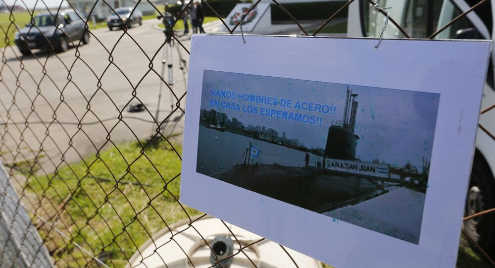 Imagem do desaparecido submarino argentino San Juan