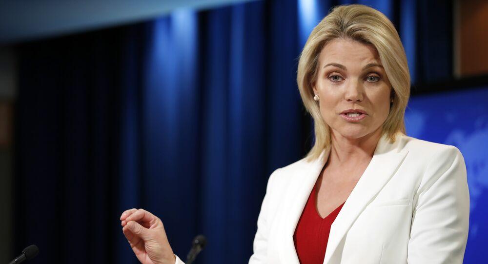 Heather Nauert porta-voz do Departamento de Estado norte-americano (arquivo)